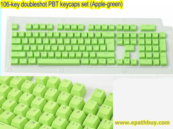 106-key doubleshot PBT keycaps set (Apple-green)