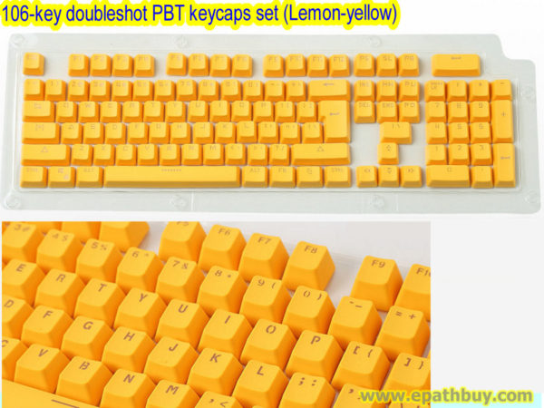 106-key doubleshot PBT keycaps set (Lemon-yellow)