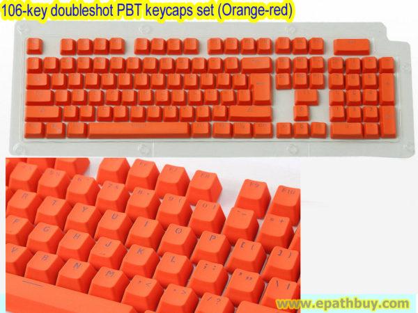 106-key doubleshot PBT keycaps set (Orange-red)