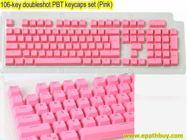 106-key doubleshot PBT keycaps set (Pink)