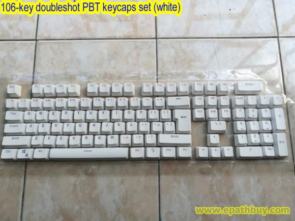 106-key doubleshot PBT keycaps set (white)