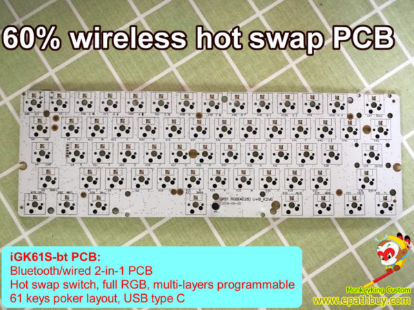 60% 61 keys wireless hot swap PCB RGB backlit bluetooth keyboard