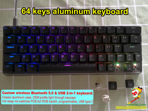 60% 64 keys wireless bluetooth cherry mx RGB switch keyboard, hot swap gateron mechanical switch kailh box switch optional, aluminum case,USB type C