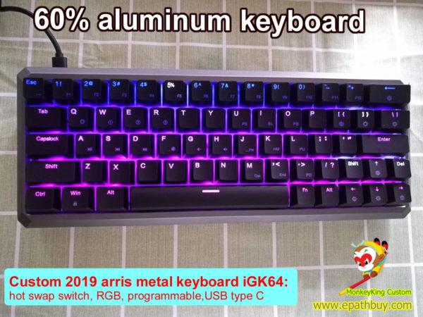 64 keys 60% aluminum mechanical keyboard with arrow keys, custom 2019 arris metal case, rgb backlit, programmble, hot swappable switch, GK64