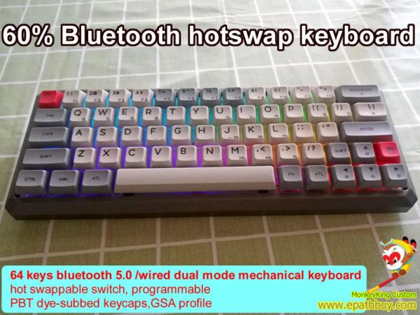 60% bluetooth aluminum keyboard iGK64(GK64S) pbt keycaps white grey