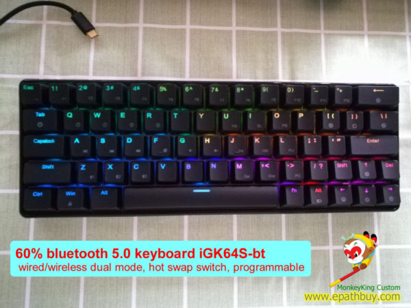 64 keys 60% wireless Bluetooth 5.0 mechanical keyboard, RGB backlit,fully programmable, hot swap axis, cherry mx, gateron, kailh box switch optional