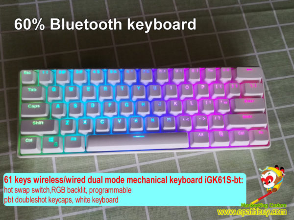 61 keys 60% bluetooth/wired 2-in-1 keyboard,white pbt doubleshot keycaps,custom mechanical keyboard switch, cherry mx, gateron, kailh box switch optional