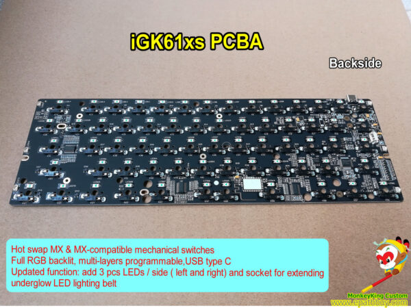 60% hot swapple rgb mechanical keyboard PCBA iGK61XS ( GK61XS ), 61 poker layout, 63 keys w/ split spacebar