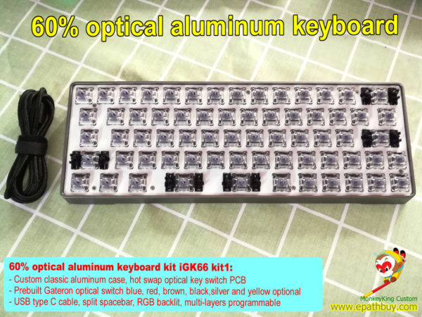 Custom 60% optical aluminum keyboard kit, hot swappable keyboard PCB, RGB backlit, programmable, prebuilt Gateron optical switch blue, red, brown, black,silver and yellow optional