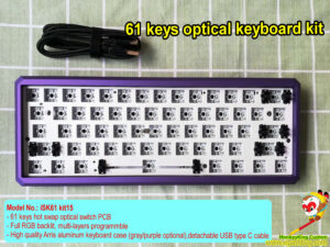 2021 custom 60% optical keyboard kit, 61 keys poker layout, hot swap optical key switch PCB, RGB backlit, programmable, GK Arris aluminum case, USB C