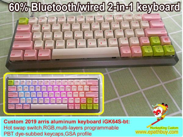 60% wireless hot swap keyboard iGK64s(GK64S) pbt keycaps pink white