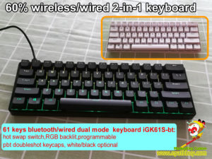 61 keys 60% bluetooth/wired 2-in-1 keyboard,custom mechanical keyboard switch,RGB backlit,programmable, pbt doubleshot keycaps, white/black