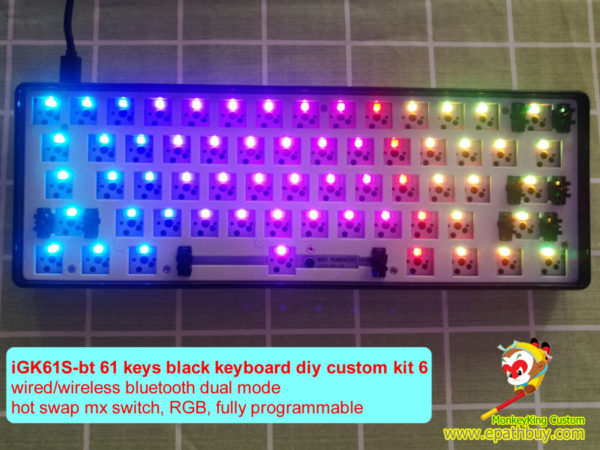 61 keys 60% wireless hot swap keyboard diy custom kit iGK61S-bt, rgb backlight, full programmble