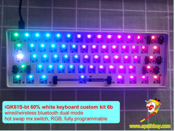 Custom 61 keys 60% wireless bluetooth keyboard barebones kit, diy iGK61S-bt, hot swappable switch, rgb backlit, full programmble
