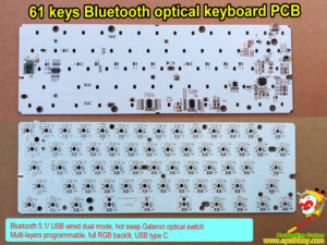 Bluetooth 5.1/ USB wired dual mode mechanical keyboard PCB,60% 61 keys hot swap Gateron optical switch, wireless, programmable, full RGB backlit, USB type C keyboard PCBA iSK61s-bt