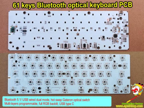 Bluetooth 5.1/ USB wired dual mode mechanical keyboard PCB,60% 61 keys hot swap Gateron optical switch, wireless, programmable, full RGB backlit, USB type C keyboard PCBA iSK61s-bt