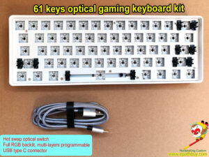 61 keys hot swap optical gaming keyboard kit,60% compact hot swap optical switch keyboard barebone kit, RGB backlit, programmable gaming kit