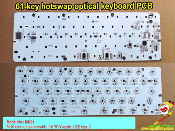 60% 61 keys hot swap optical switch keyboard PCB isk61: RGB backlit, multi-layers programmable, usb type c