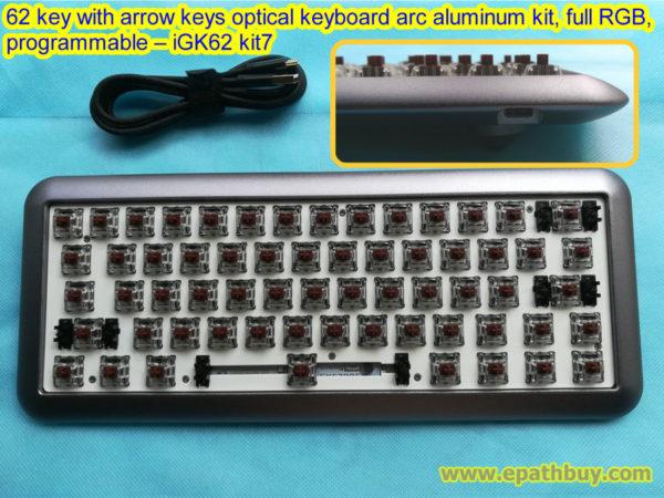 RGB backlit mechanical keyboard diy custom kit, arc aluminum case,62 key with arrow keys optical switch PCB, full programmable – SuperMonkey iGK62 kit7