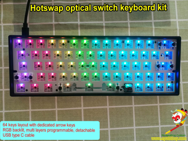 Buy best hot swap optical switch keyboard kit, build your own Gateron optical switch red, blue, black, brown, yellow, silver, silent brown, silent red, silent black, silent silver and silent yellow mechanical keyboard!