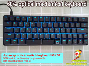 66 keys 60% compact hot swap optical switch keyboard, USB-C wired, split spacebar, RGB backlit, programmable, best optical gaming mechanical keyboard
