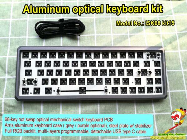 68 keys aluminum optical keyboard kit, grey / purple case optional,hot swap optical switch PCB, full RGB backlit, multi-layers programmable, detachable USB type C cable