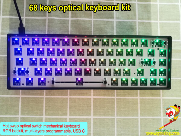 65% 68 keys optical mechanical keyboard kit,best modular keyboard kit,RGB backlit,multi-layers programmale, hot swap optcial key switch, build your own board easy!