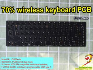 70% keyboard PCB iGK68xs-bt: hot swap PCB, 5.1 wireless bluetooth/ USB wired dual mode, 68 (or 70) keys optional