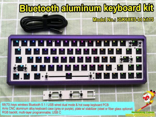 Bluetooth aluminum keyboard kit, 68(70) keys wireless Bluetooth 5.1 / USB wired dual mode & hot swap keyboard kit, custom Arris purple case, steel plate w/ detachable spacebar modules