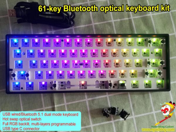Bluetooth optical keyboard kit, USB wired / wireless bluetooth 5.1 dual mode RGB backlit 60 percent mechanical keyboard, custom barebone kit,hot swap Gateron optical switch ,DIY