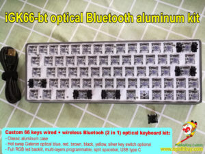 Compact 60% dual mode wired and bluetooth aluminum mechanical keyboard custom diy kit iGK66-bt