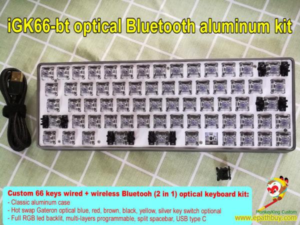 Compact 60% dual mode wired and bluetooth aluminum mechanical keyboard custom diy kit iGK66-bt