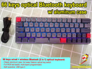 Compact aluminum Bluetooth keyboard,65% 66 keys bluetooth/wired 2-in-1 mechanical keyboard, hot swap optical switch, rgb backlit, programmble, USB type C