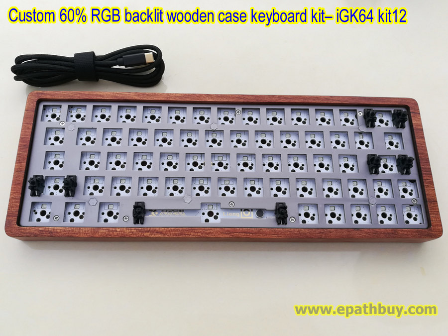 Custom 60% RGB backlit mechanical keyboard kit: wooden shell + 64-key hot  swap PCB + plate + USB type C cable - iGK64 ( GK64 ) kit12