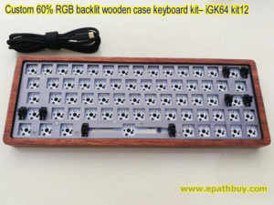 Custom 60% RGB backlit mechanical keyboard kit: wooden shell,iGK64 64-key hot swap PCB, USB type C cable