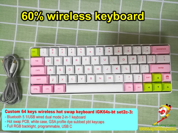Custom 60% keyboard, wireless Bluetooth 5.1/USB 2-in-1 hot swap keyboard RGB backlit, programmable, pbt keycaps
