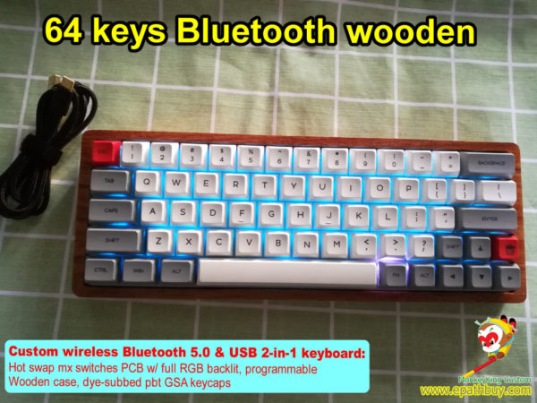 Custom 60 percent small RGB mechanical keyboard built in wooden case, wireless bluetooth & USB wired 2-in-1 keyboard, customized compact hot swap mx switch keyboard