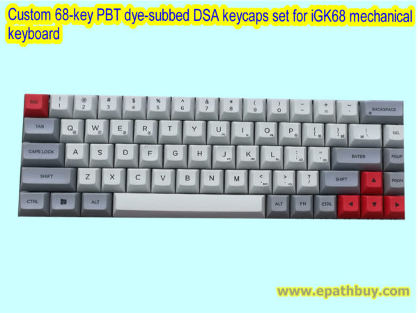 Custom 68-key PBT dye-subbed DSA keycaps set for iGK68 mechanical keyboard