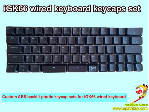 Custom RGB backlit mechanical keyboard keycaps set for 66-key iGK66 keyboard, ABS photic