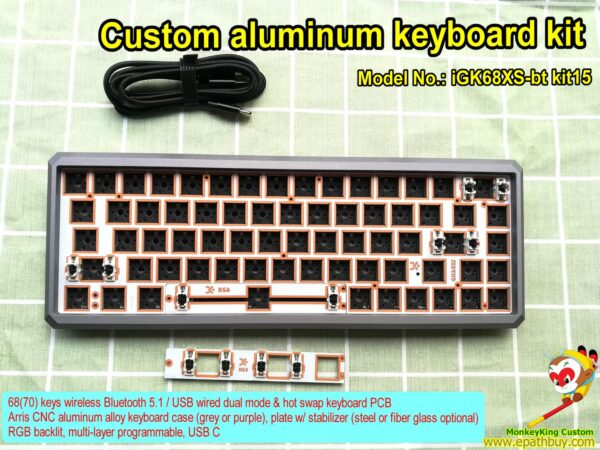 Custom aluminum keyboard kit iGK68XS-bt kit15, custom nice grey case, fiber glass plate, hot swap PCB, RGB backlit,multi-layers programmable, detachable USB type C