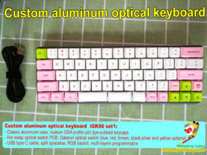 Custom aluminum optical keyboard, 60 percent 66 keys, rgb backlit,programmable, hot swap keyboard PCB, Gateron optical switch blue, red, brown, black,silver and yellow optional, GSA profile pbt dye-subbed keycaps, usb type c
