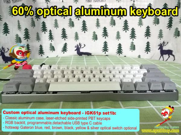 Optical aluminum keyboard, custom best 60% compact aluminum alloy optical keys swith mechanical keyboard, rgb backlit, programmble, USB type C