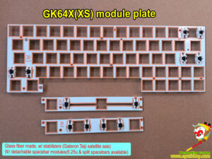 Custom glass fiber plate, GK64X(XS) module plate w/ stabilizers, w/ detachable spacebar modules(6.25u & split spacebars available)