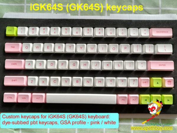 Custom keyboard keycaps set for GK64S mechanical keyboard: 64-key dye-subbed pbt keycaps, GSA profile - pink / white