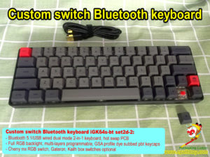 Custom mechanical switch bluetooth keyboard: 60% 64 keys hot swap PCB, rgb backlit, programmable, GSA profile pbt dye subbed keycaps – iGK64s-bt set2d-2