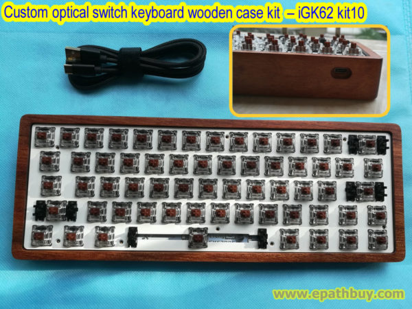 Custom 60% wooden mechanical keyboard kit, hotswap PCB, Gateron blue, red,  black, brown, yellow,and silver optical switches optional - iGK62 kit10