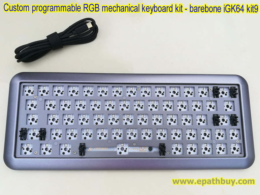 Custom Programmable RGB mechanical keyboard DIY kit: 2018 arc aluminum case  + PCB + USB type C cable + plate - barebone iGK64 ( GK64 ) kit9