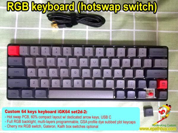 Custom switch keyboard: 60% 64-key hot swap RGB keyboard, Cherry mx RGB switch, Gateron, Kailh box switches optional – iGK64 set2d-2