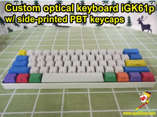 Custom Gateron optical switch mechanical keyboard 60% 61 keys poker layout RGB programmable USB type C iGK61p