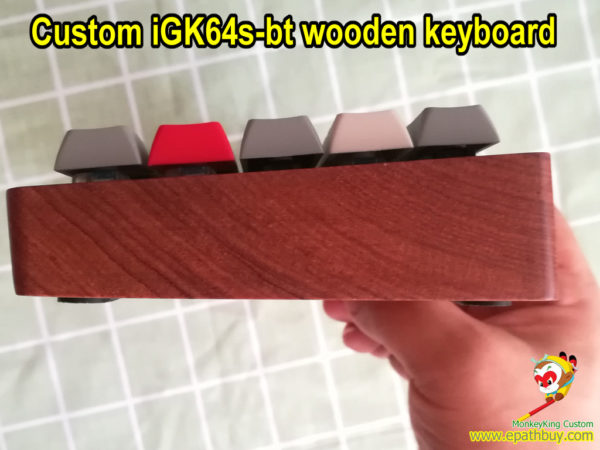 Custom wireless bluetooth wooden mechanical keyboard iGK64s-bt: comapct 60% hot swappable mx switch RGB backlit mulit-layers programmable keyboard